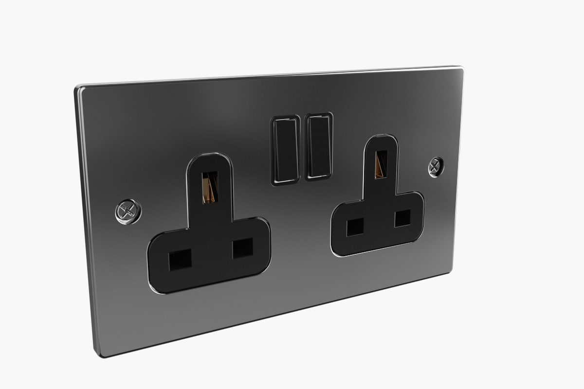 uk plug sockets switches 3d model
