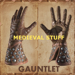3d leather medieval gauntlet model
