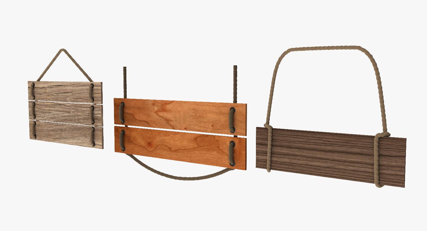 wood signs 3d 3ds