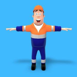 cartoon construction worker 3ds