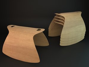 wooden stool 3d dxf