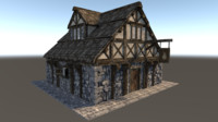 medieval city house 3d 3ds