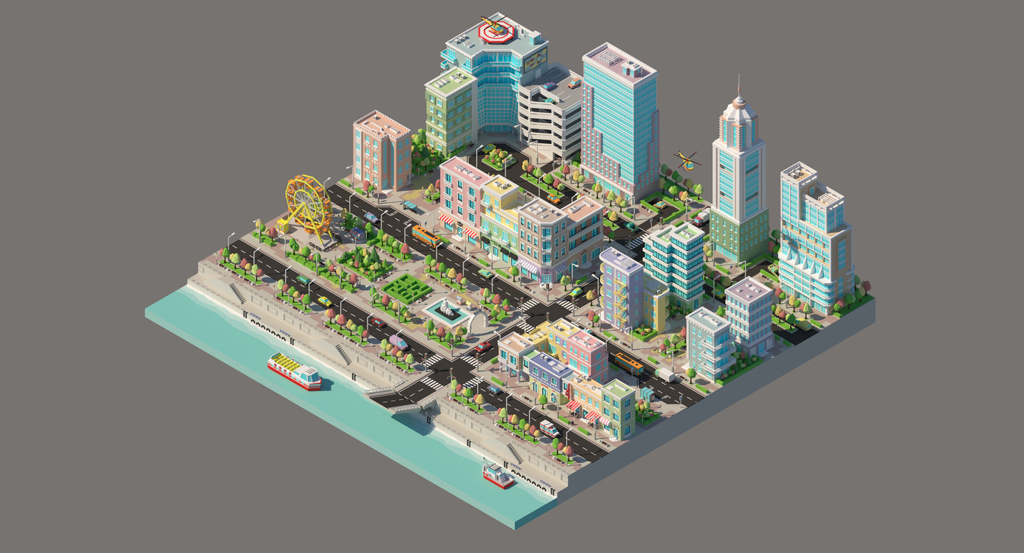 Low poly city with a Ferris wheel and various buildings on the river bank
