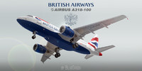 3d model a318-100 british airways