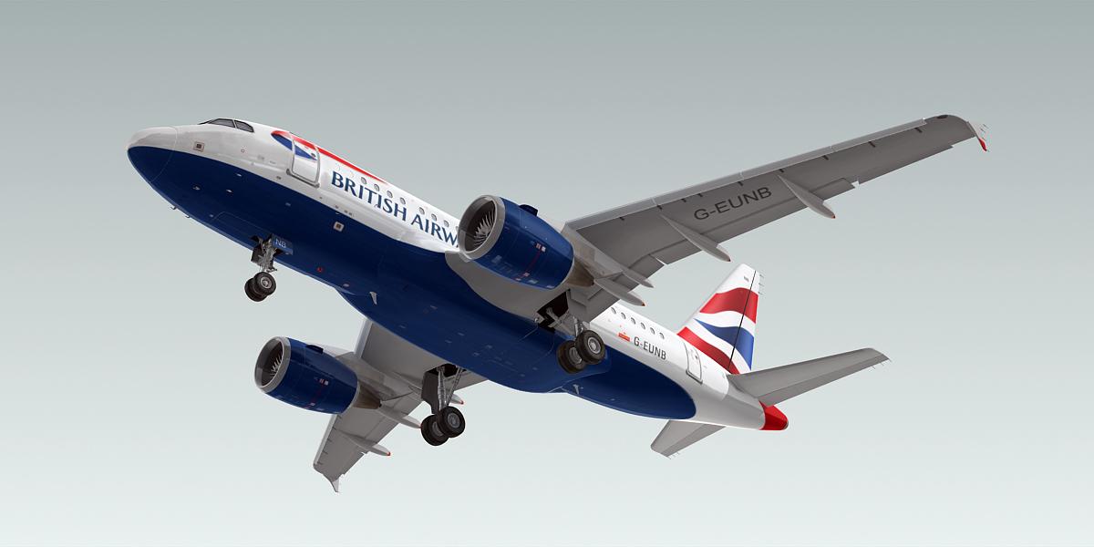 a318-100 plane british airways 3d model