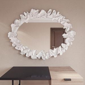 flower silver frame mirror 3ds