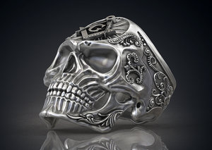 ring masonic skull freemasons 3ds