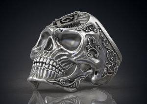 ring masonic skull freemasons 3ds