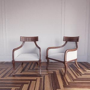 3d model klismos armchair artistic frame