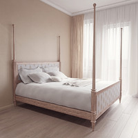 3d left blank king bed model