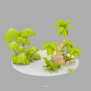 3d cartoon palm trees plants model