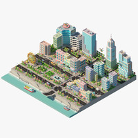 3d city river buildings architectural model