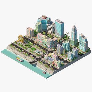 3d city river buildings architectural model
