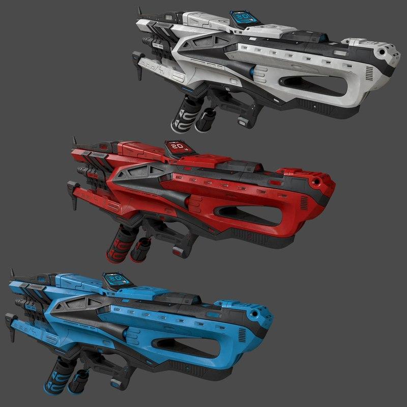 3d model of sci-fi gun