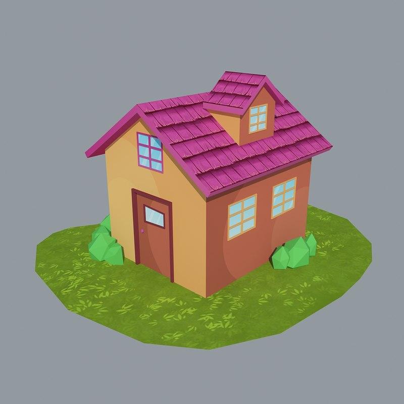 3d max cartoon house 3