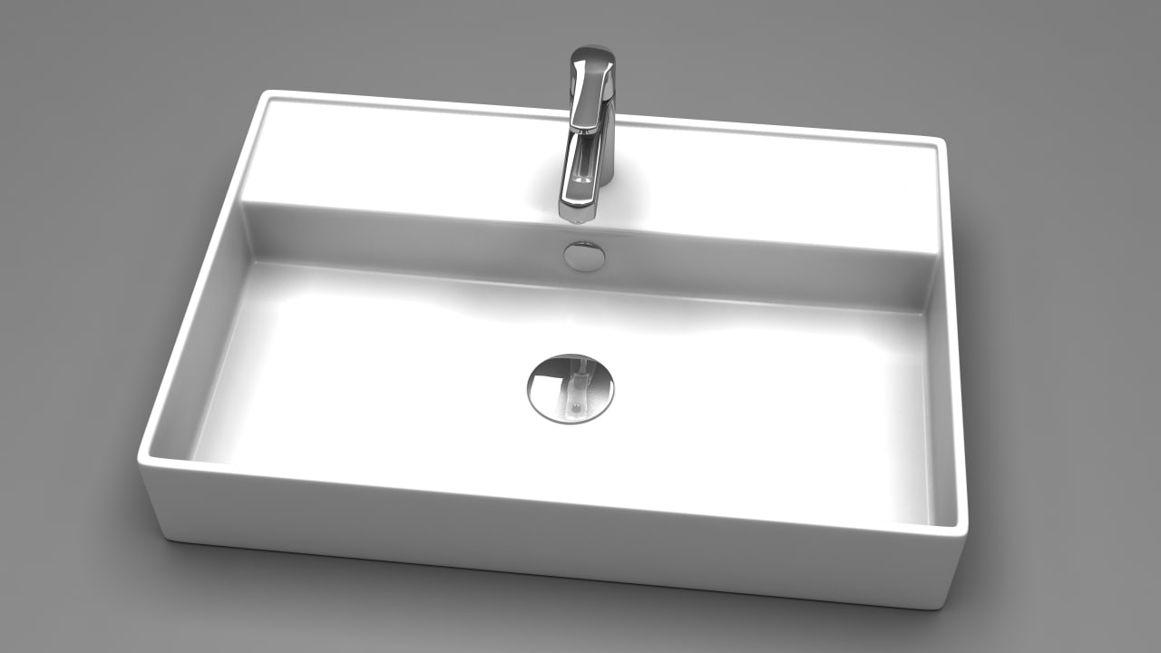 square bathroom sink 3d max