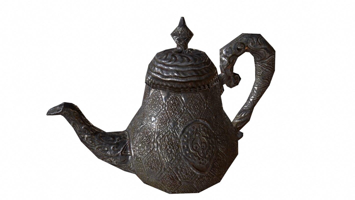 3d model of antique teapot