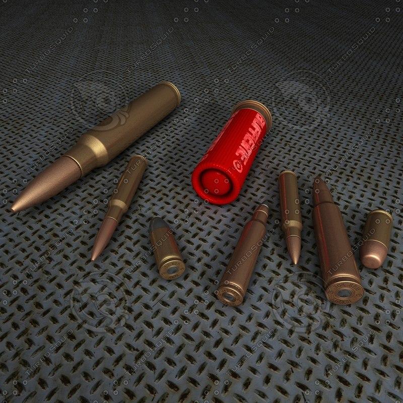 set 8 bullets s 3d model