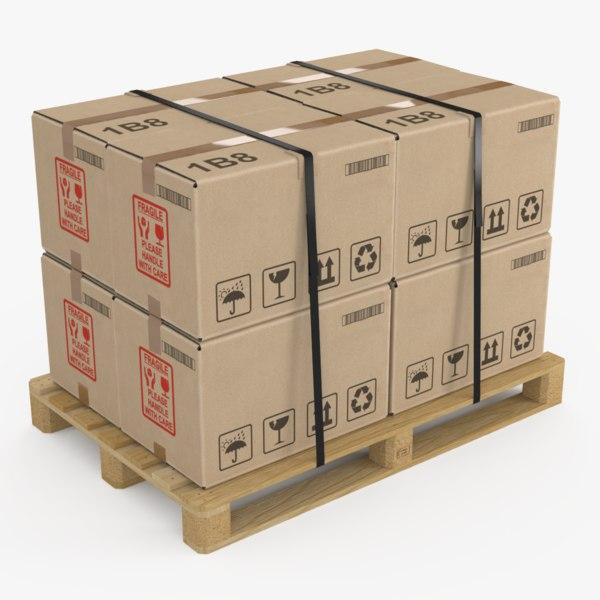 pallet cardboard box small 3d model