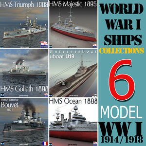 world war battleship collections 3d model