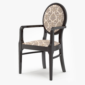 3d model neo classic wood chair