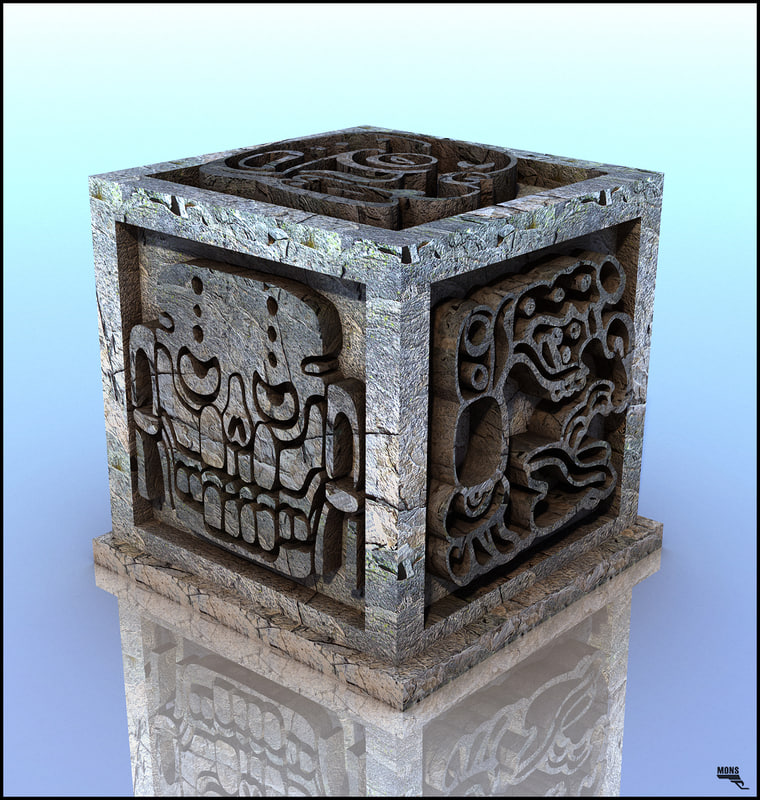 cube aztec artifact obj free