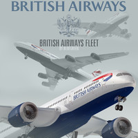 3d model plane british airways fleet