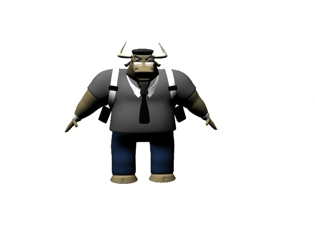 3d bull man