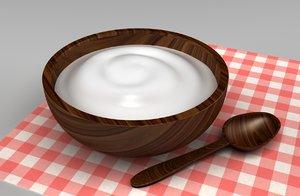 3d yogurt wood bowl
