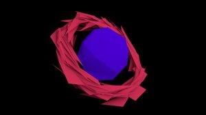 3d sharpened ring edged planet model