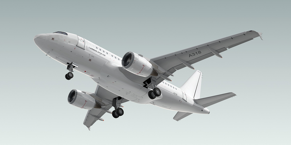 3d model of a318-100 plane generic white