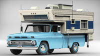 chevrolet pickup camper 1966 3d model