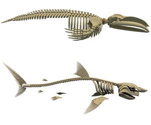 3d model great white shark blue