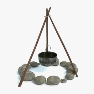3d campfire tripod kettle