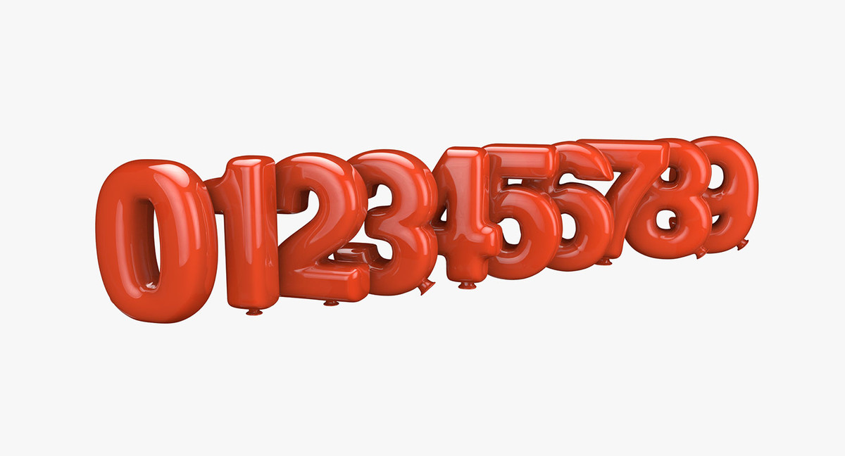 balloons numbers 3d x