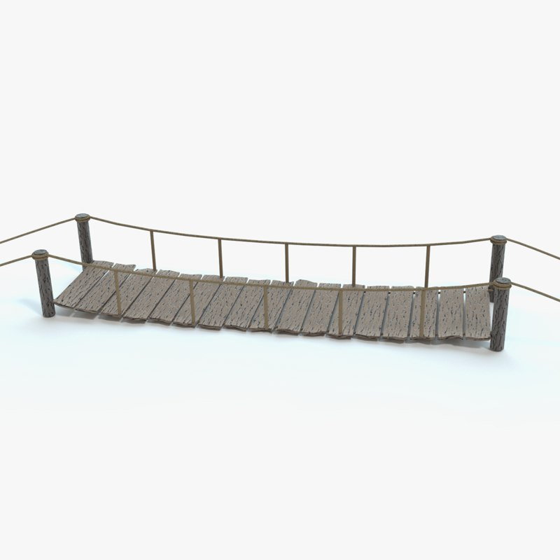 3d model stylized rope bridge