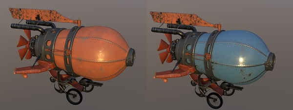3d model battle red airship