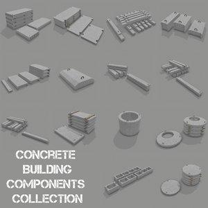 3d concrete building components model