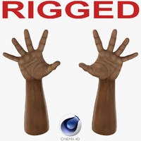 African Man Hands 3 Rigged for Cinema 4D