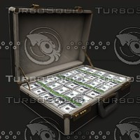 malette suitcase filled money 3d model