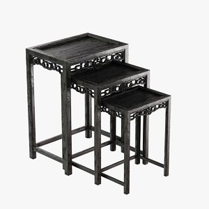 tables chinese black lacquered 3d max