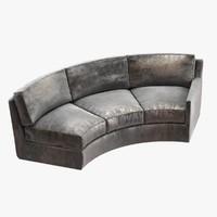 curved sofa cusom assymetric 3d obj