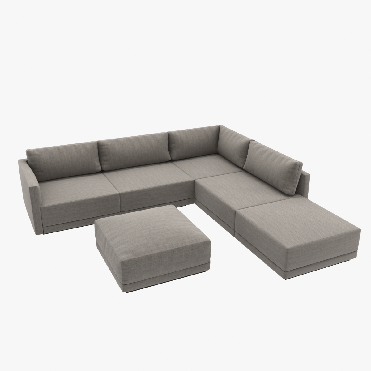 various colors d8ad1 6ea5c Custom made modern corner sofa with ottoman upholsterd in grey textile