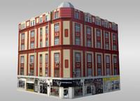 3d model old corner building