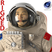 chinese astronaut wearing space suit c4d