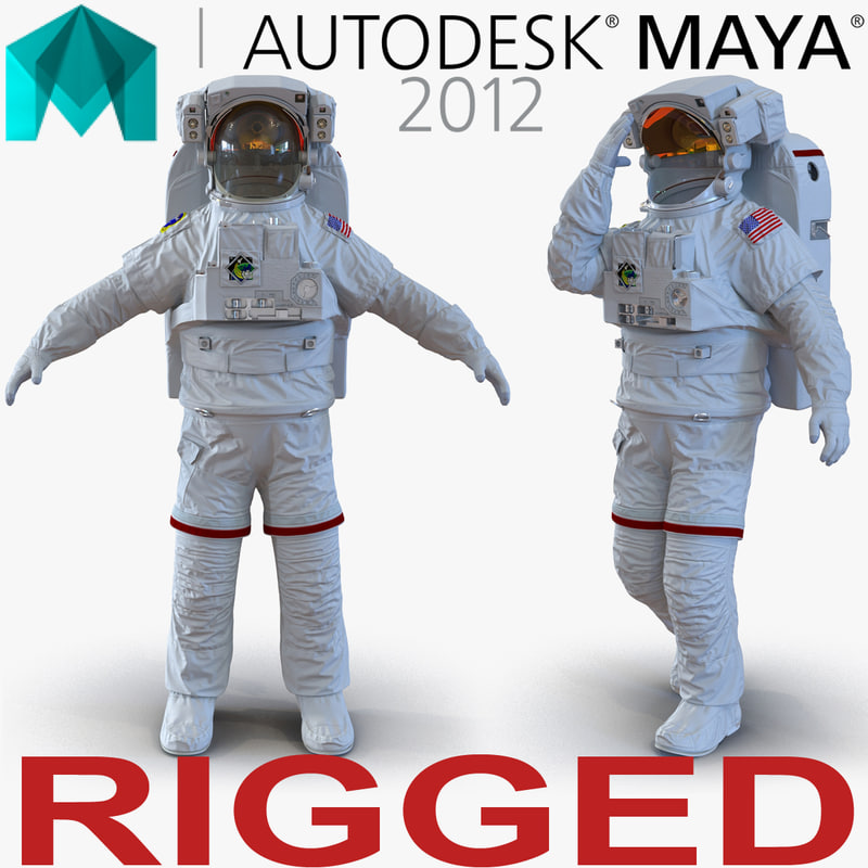 3d model extravehicular mobility unit rigged