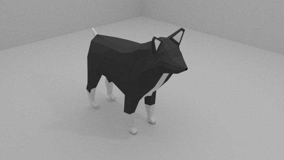 blender dog 3d model