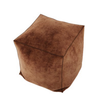 free leather pouf brown 3d model