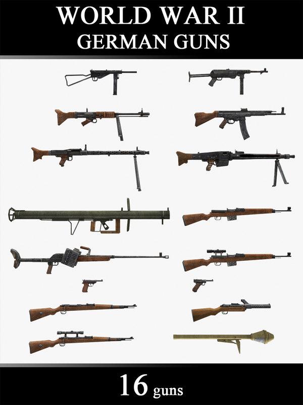 world war ii guns 3d max