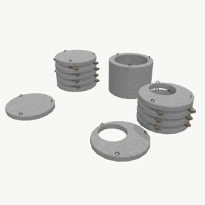 cylindrical concrete parts 3d max